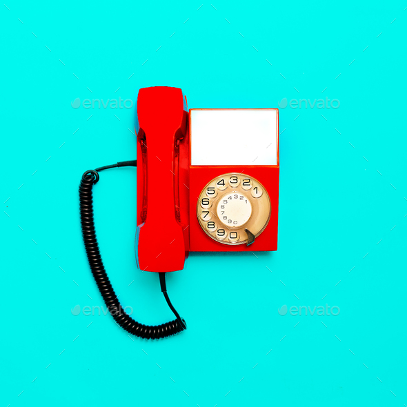 Vintage red telephone. Minimal design - Stock Photo - Images