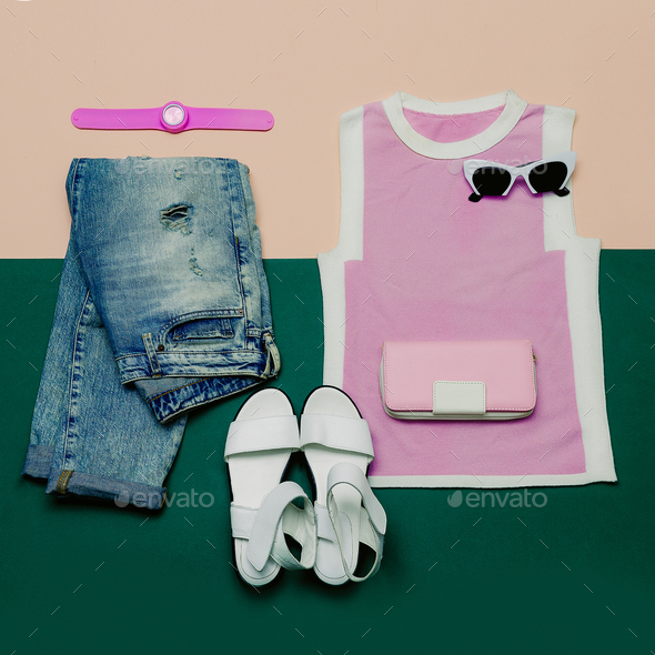 Stylish Summer Set. Fashionable clothing and accessories. Minima - Stock Photo - Images