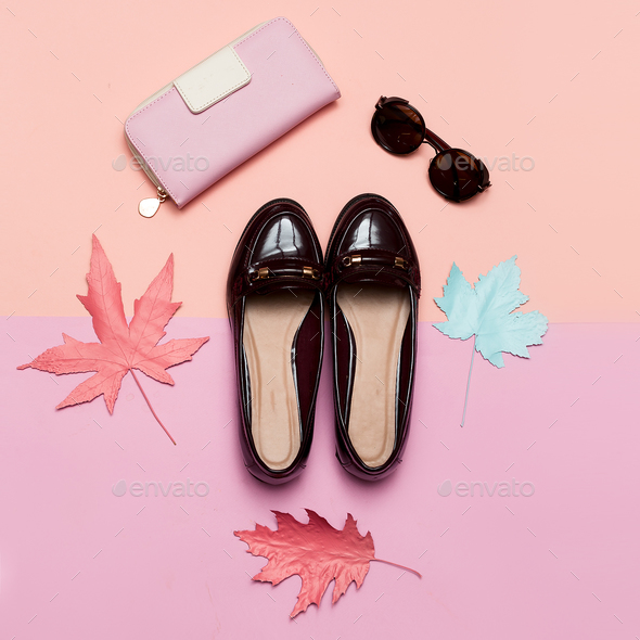 Fashionable Vintage Shoes for Lady and Accessories Clutch and Gl - Stock Photo - Images