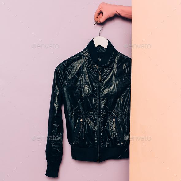 Stylish clothes. Spring season. Black jacket trend wardrobe idea - Stock Photo - Images