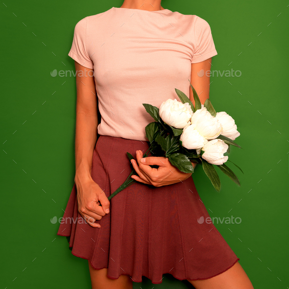 Cute Vintage Outfit Women's Skirt and T-shirt - Stock Photo - Images