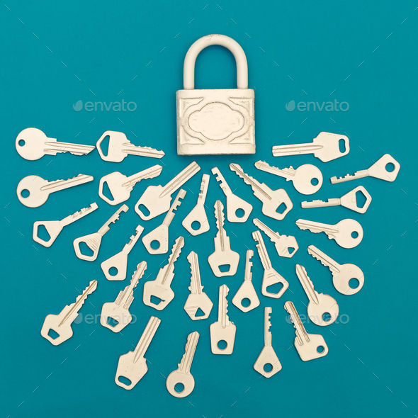 Collection of keys and lock  Minimal art style - Stock Photo - Images