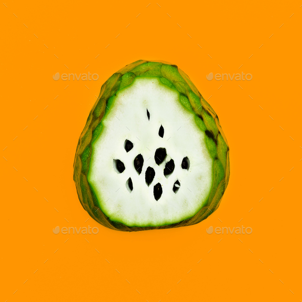 Asian Fruit. Cheremoya Minimal art design Happy vegan idea - Stock Photo - Images