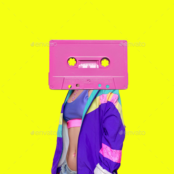 Fashion Retro Cassette Minimal art collage - Stock Photo - Images