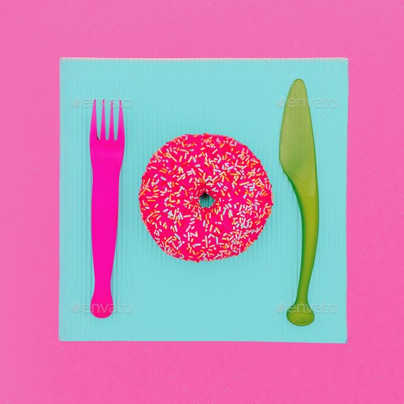 Donut Fast food. Cute fashion art Creative design - Stock Photo - Images