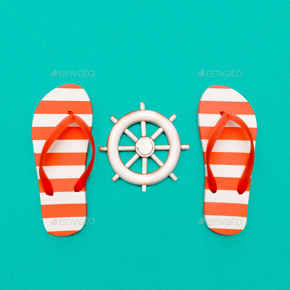 Favorite strip. Beach style. Flip-flops and sea. Minimal art - Stock Photo - Images