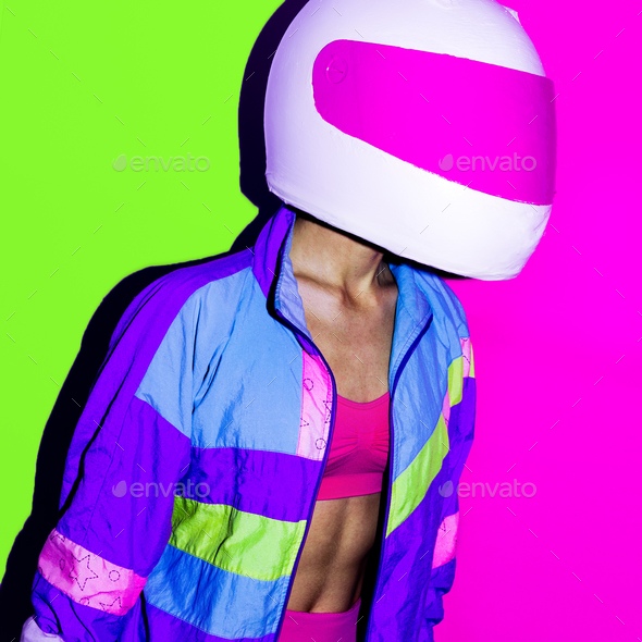Disco and Moto. Girl in helmet. Minimal art. - Stock Photo - Images