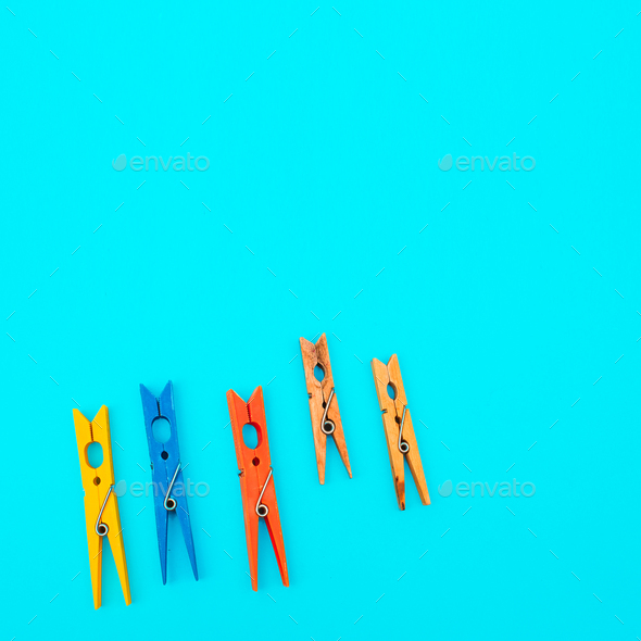 clothes pin bright miniml art - Stock Photo - Images