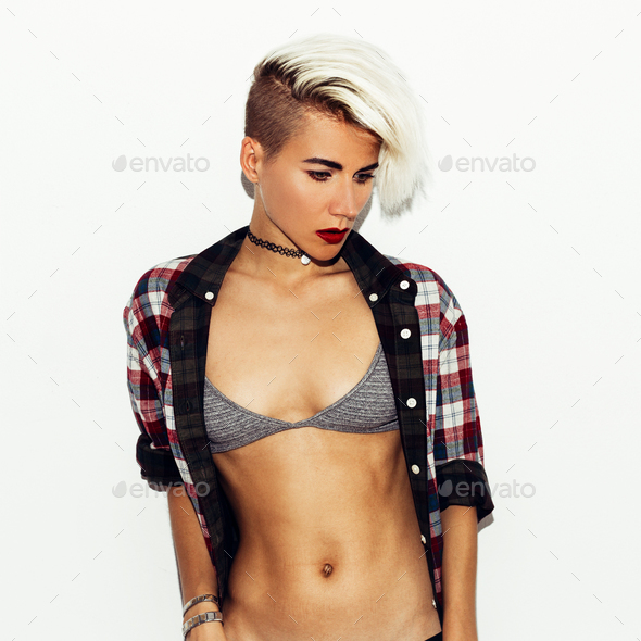 Sexy fashion style Model Blond.  Bra and checkered shirt. Sensua - Stock Photo - Images