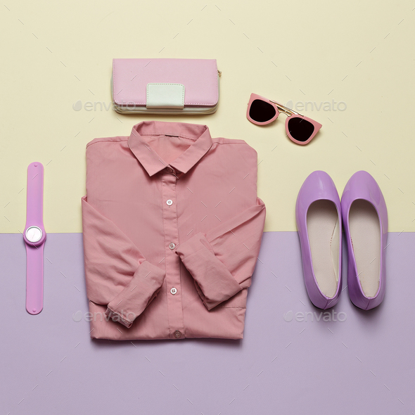 Ladies Fashion Clothes and Accessories. Purse, watches, sunglass - Stock Photo - Images