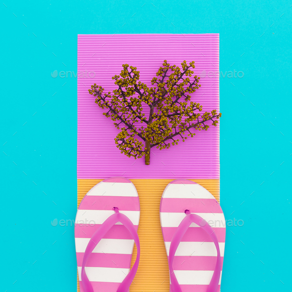 Flip-flop and tropical plant. beach minimal - Stock Photo - Images