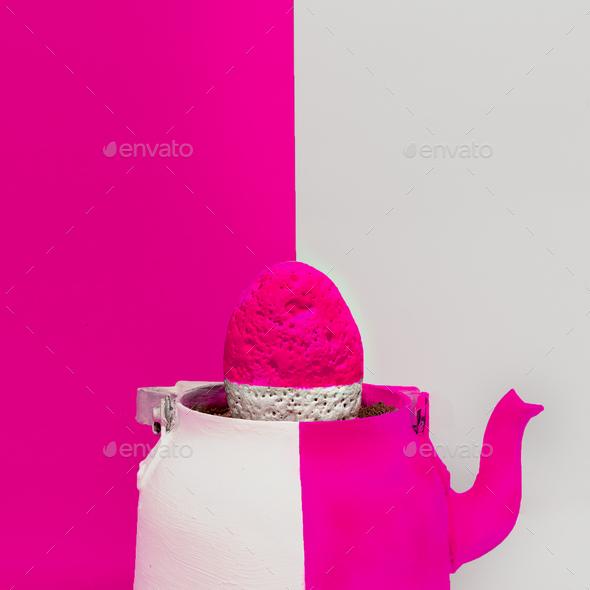 Creative Stone in a teapot. Minimal art design - Stock Photo - Images