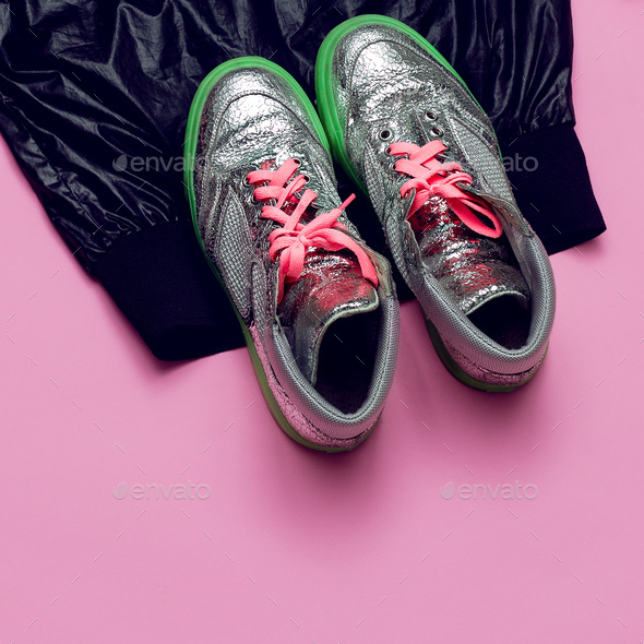 Swag Minimal Sneakers Street fashion Top view Pink Glam - Stock Photo - Images