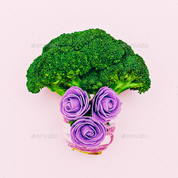 Broccoli cabbage and flowers. Love Raw minimal art - Stock Photo - Images