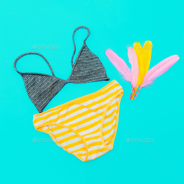 Beach outfit. Panties and bra. Bright summer style - Stock Photo - Images