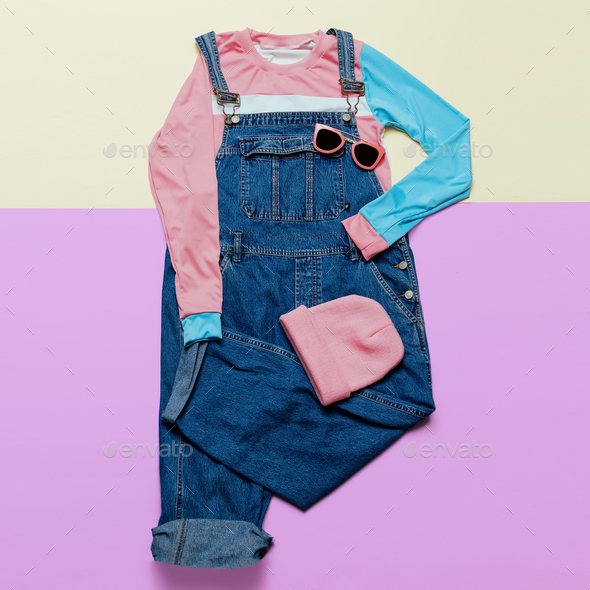 Fashionable denim overalls and accessories. Stylish clothes. Gla - Stock Photo - Images