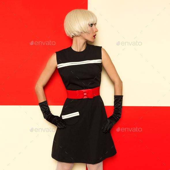 Lady Retro Style Art Cabaret vintage clothing. Minimal Fashion - Stock Photo - Images