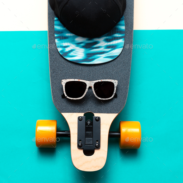 Skateboard, Sunglasses, Cap, Love Urban fashion. Minimal Design - Stock Photo - Images