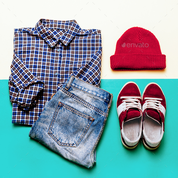 Urban clothing set. Plaid shirt, jeans, shoes cap - Stock Photo - Images
