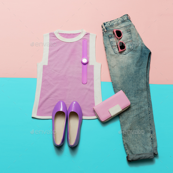 Fashionable Summer Look. Pink clothes and accessories. Jeans. Ca - Stock Photo - Images