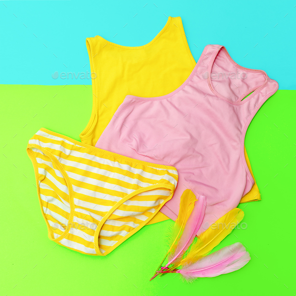 Beach outfit. Panties and tops. Bright summer style - Stock Photo - Images
