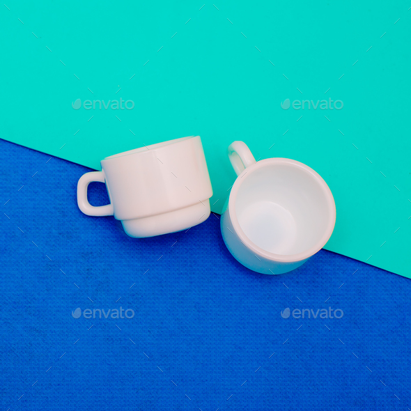 A pair of coffee cups. Minimal art design - Stock Photo - Images