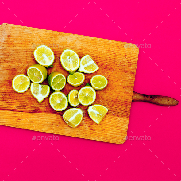 Limes. Minimal idea food creative - Stock Photo - Images