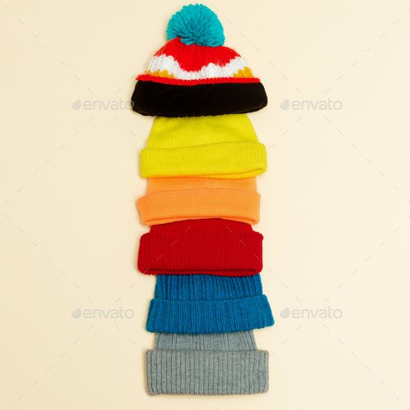 Minimalism style hipster fashion set Caps - Stock Photo - Images