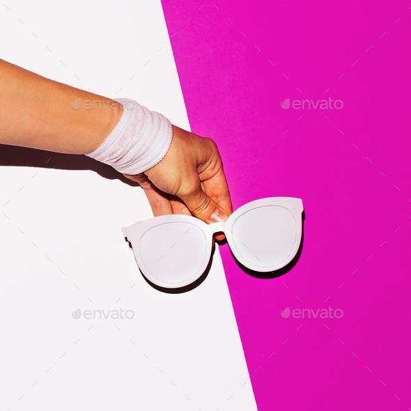 Beach vibration. Sunglasses. Minimal art design - Stock Photo - Images