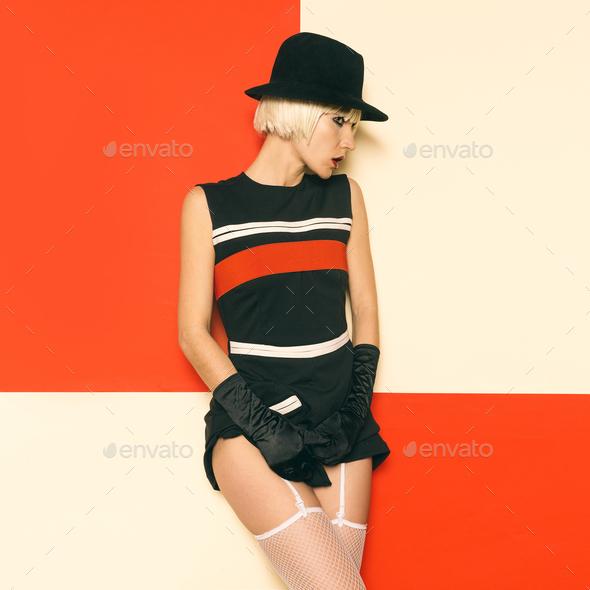 Sexy Lady Retro Style Cabaret vintage clothing. Minimal Fashion. - Stock Photo - Images