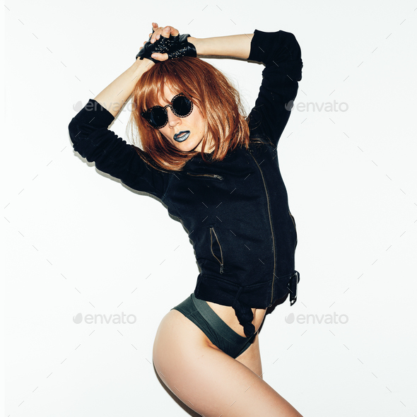 brunette model in underwear and a jacket. Fashion sexy rock styl - Stock Photo - Images