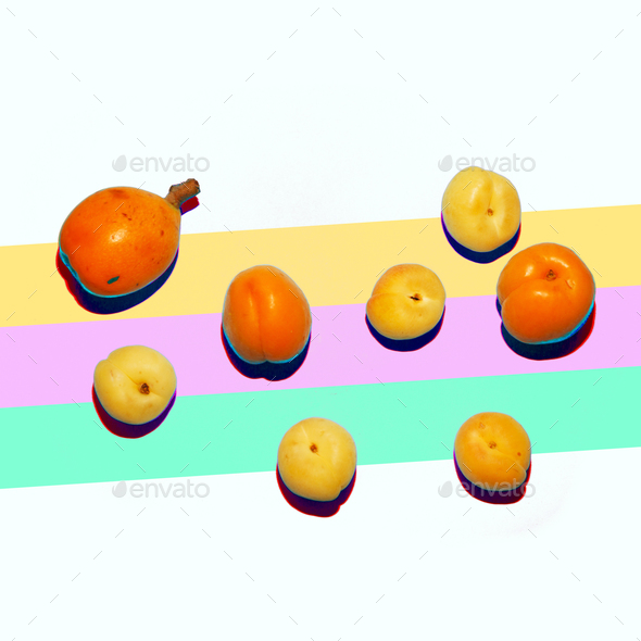 Peaches Set Minimal Art Fruit - Stock Photo - Images