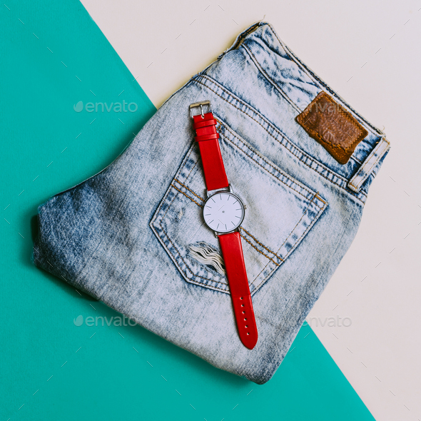 Urban Style. Denim and Accessories Watches - Stock Photo - Images
