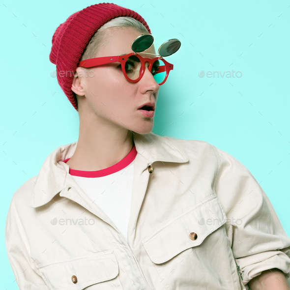 Vintage Girl Outfit Model steampunk sunglasses - Stock Photo - Images