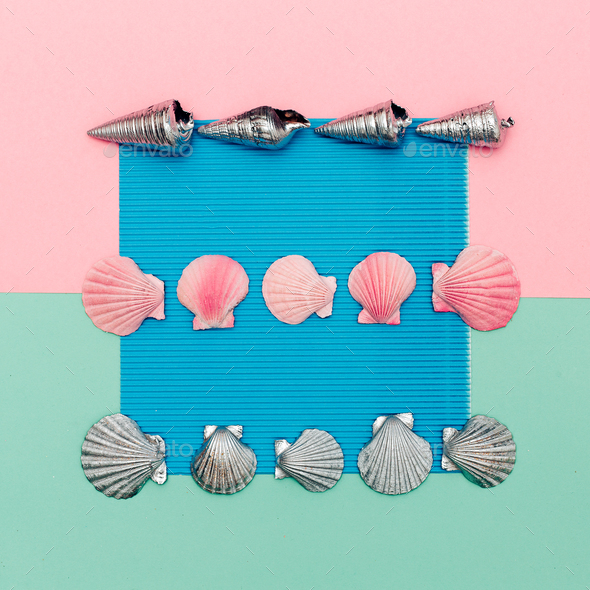 Set shells. Ocean vibes Minimal art - Stock Photo - Images