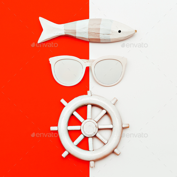 Marine style. Minimal design. Fashion accessories. - Stock Photo - Images
