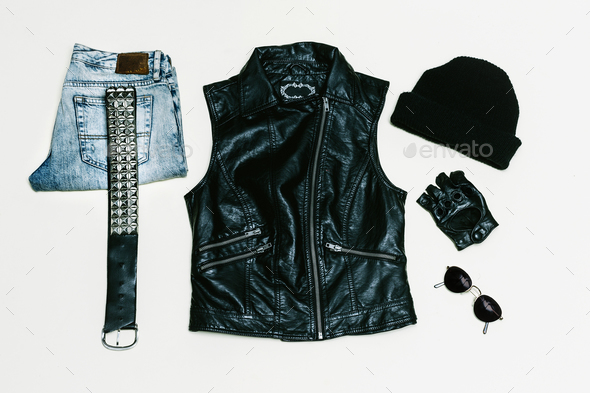 Rock style set. Jeans. Black Urban fashion. Vest, Backpack cap. - Stock Photo - Images