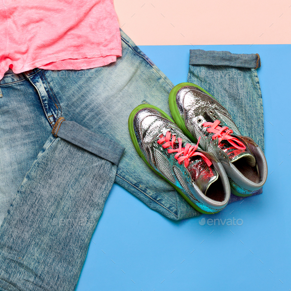 Stylish set. Fashionable jeans and sneakers. Summer outfit Top v - Stock Photo - Images