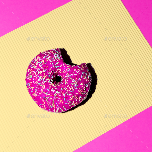 Pink donuts. Fashion Fast food minimal art Details Surreal - Stock Photo - Images