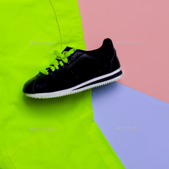 Minimal design. fashion colors. Fashion sneakers. Urban trend - Stock Photo - Images