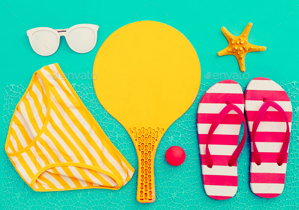 Beach Time. Beach badminton. Vacation party vibes - Stock Photo - Images