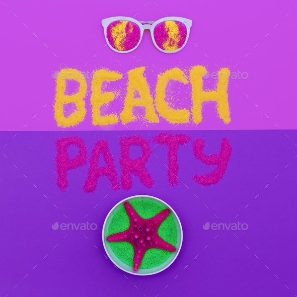Beach party vibes Set Minimal fashion art - Stock Photo - Images