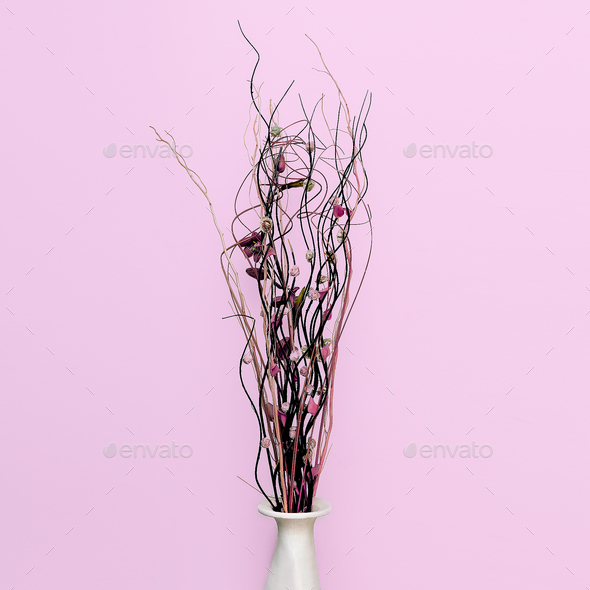 Minimal decor fashion. Flowers in a vase. - Stock Photo - Images