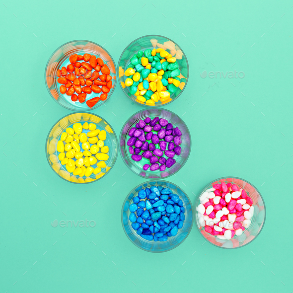 Decorative pebbles Minimal art design Candy Colors - Stock Photo - Images