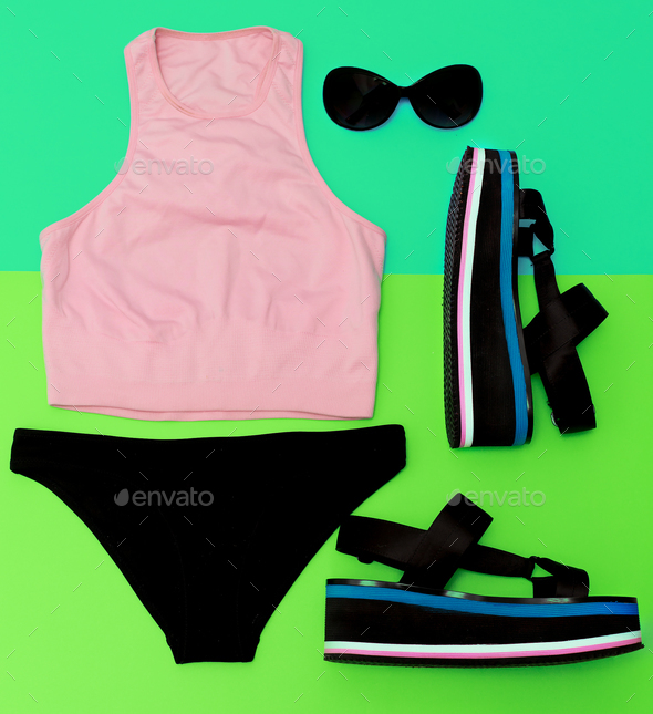 Stylish beach sportswear. Sandals platform. Summer outfit trends - Stock Photo - Images