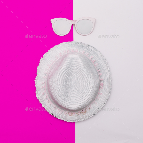 Beach hat and glasses. Minimal art - Stock Photo - Images