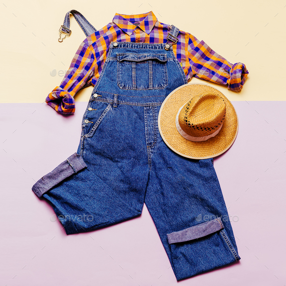 Fashionable denim overalls. Stylish clothes. Minimal Country fas - Stock Photo - Images
