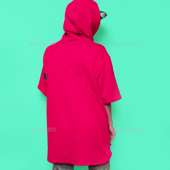 Bright Hip Hop Girl Tomboy cap and stylish clothes Urban Style S - Stock Photo - Images