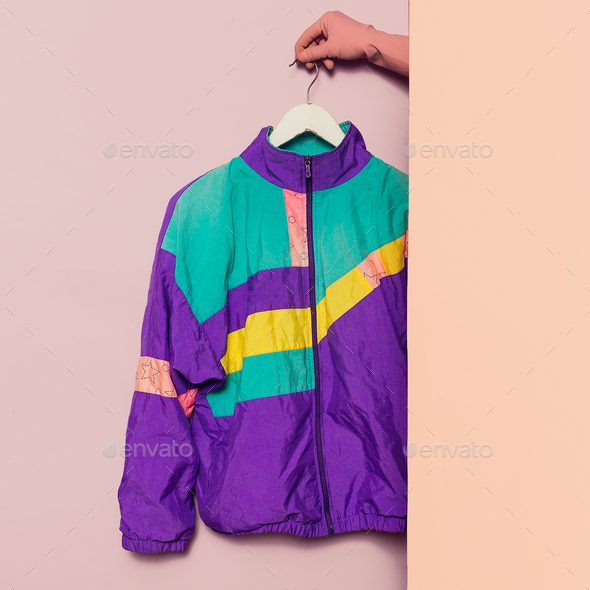Stylish sportswear. Vintage Jacket. Minimal fashion. Wardrobe T - Stock Photo - Images