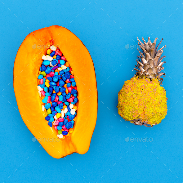 Papaya and pineapple Art Minimal design - Stock Photo - Images